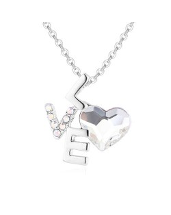 Love and Heart Combo Design Austrian Crystal Graceful Women Necklace - White