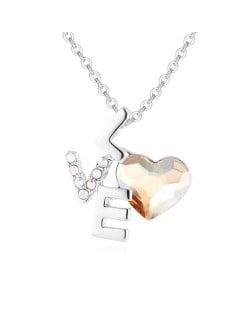 Love and Heart Combo Design Austrian Crystal Graceful Women Necklace - Golden