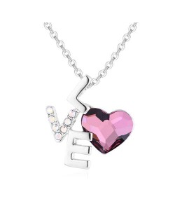 Love and Heart Combo Design Austrian Crystal Graceful Women Necklace - Pink