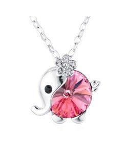 Austrian Crystal Embellished Cute Elephant Design Platinum Plated Necklace - Rose