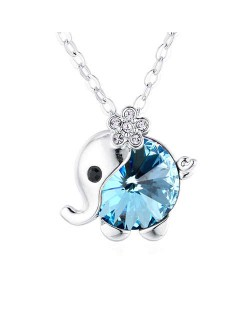 Austrian Crystal Embellished Cute Elephant Design Platinum Plated Necklace - Aquamarine