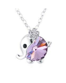 Austrian Crystal Embellished Cute Elephant Design Platinum Plated Necklace - Violet