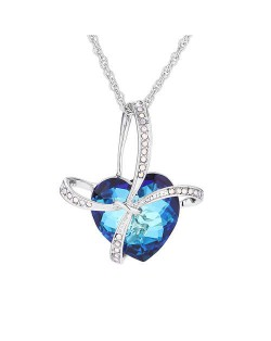 Gift Heart Design Creative Style Austrian Crystal Platinum Plated Necklace - Blue