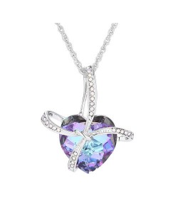 Gift Heart Design Creative Style Austrian Crystal Platinum Plated Necklace - Violet
