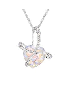 Gift Heart Design Creative Style Austrian Crystal Platinum Plated Necklace - Luminuous White