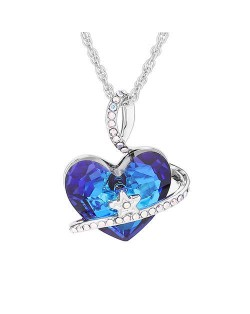 Austrian Crystal Star Decorated Heart Pendant Platinum Plated Women Necklace - Blue