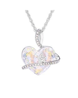 Austrian Crystal Star Decorated Heart Pendant Platinum Plated Women Necklace - Luminous White