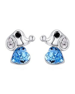 Cute Dog and Heart Design Austrian Crystal Women Earrings - Aquamarine