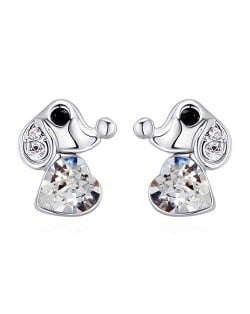 Cute Dog and Heart Design Austrian Crystal Women Earrings - White