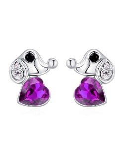 Cute Dog and Heart Design Austrian Crystal Women Earrings - Purple