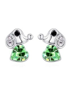 Cute Dog and Heart Design Austrian Crystal Women Earrings - Olive