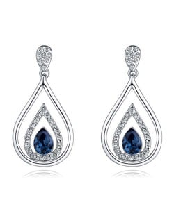 Austrian Crystal Inlaid Hollow Water Design Elegant Fashion Platinum Plated Earrings - Ink Blue