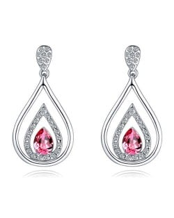 Austrian Crystal Inlaid Hollow Water Design Elegant Fashion Platinum Plated Earrings - Rose