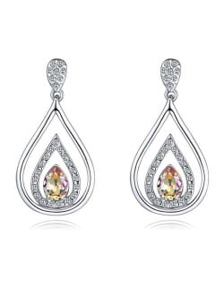 Austrian Crystal Inlaid Hollow Water Design Elegant Fashion Platinum Plated Earrings - Luminous Green