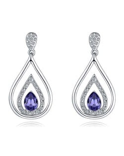 Austrian Crystal Inlaid Hollow Water Design Elegant Fashion Platinum Plated Earrings - Purple