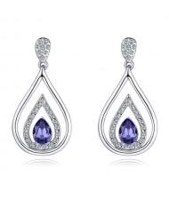 Austrian Crystal Inlaid Hollow Water Design Elegant Fashion Platinum Plated Earrings - Purple