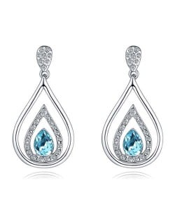 Austrian Crystal Inlaid Hollow Water Design Elegant Fashion Platinum Plated Earrings - Aquamarine