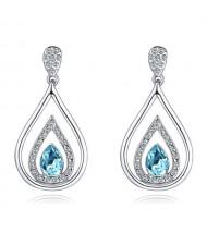 Austrian Crystal Inlaid Hollow Water Design Elegant Fashion Platinum Plated Earrings - Aquamarine