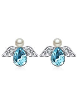 Austrian Crystal Flying Angel Design Platinum Plated Stud Earrings - Aquamarine