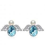 Austrian Crystal Flying Angel Design Platinum Plated Stud Earrings - Aquamarine