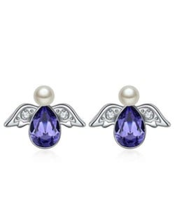 Austrian Crystal Flying Angel Design Platinum Plated Stud Earrings - Purple