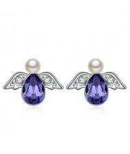 Austrian Crystal Flying Angel Design Platinum Plated Stud Earrings - Purple