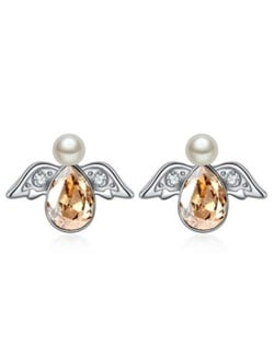 Austrian Crystal Flying Angel Design Platinum Plated Stud Earrings - Golden