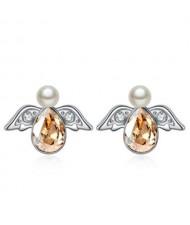 Austrian Crystal Flying Angel Design Platinum Plated Stud Earrings - Golden