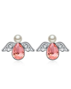 Austrian Crystal Flying Angel Design Platinum Plated Stud Earrings - Red