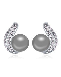 Austrian Crystal and Pearl Fashion Design Platinum Plated Stud Earrings - Gray