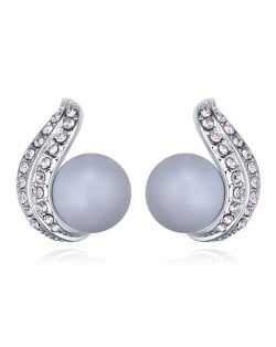 Austrian Crystal and Pearl Fashion Design Platinum Plated Stud Earrings - Blue