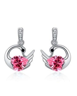 Austrian Crystal Graceful Swan Design Platinum Plated Women Stud Earrings - Rose