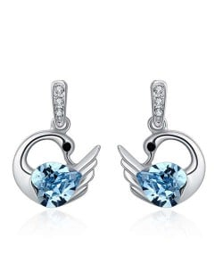 Austrian Crystal Graceful Swan Design Platinum Plated Women Stud Earrings - Aquamarine