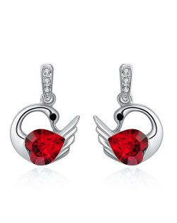 Austrian Crystal Graceful Swan Design Platinum Plated Women Stud Earrings - Red