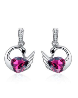 Austrian Crystal Graceful Swan Design Platinum Plated Women Stud Earrings - Purple