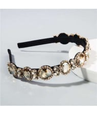 Baroque Style Shining Glass Gems Bridal Fashion Women Headband/ Hairhoop - Champagne