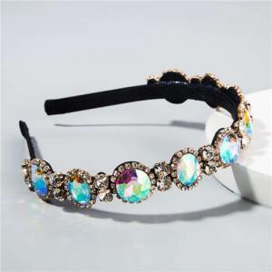 Baroque Style Shining Glass Gems Bridal Fashion Women Headband/ Hairhoop - Colorful White