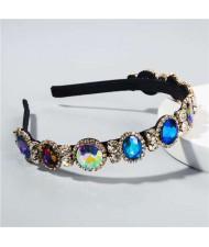 Baroque Style Shining Glass Gems Bridal Fashion Women Headband/ Hairhoop - Blue