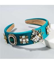 Gems and Pearl Ladybug and Flowers Decorations High Fashion Women Hair Hoop/ Headband - Green