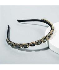 Korean Fashion Glistening Gems Vintage Style Women Hair Hoop - Black