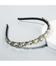 Korean Fashion Glistening Gems Vintage Style Women Hair Hoop - White