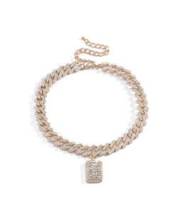Rhinestone Inlaid Cuban Chain Alphabet Pendant Shining Fashion Chunky Costume Necklace - Golden