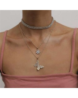 Butterfly and Cubic Zirconia Flower Pendants Rhinestone Choker Necklaces Combo
