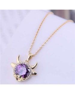 Lucky Ox Design Korean Fashion Women Alloy Necklace - Purple