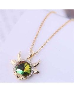 Lucky Ox Design Korean Fashion Women Alloy Necklace - Luminous Green