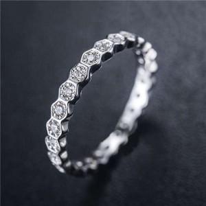 Cubic Zirconia Inlaid Glistening Hexagon Creative Design 18K Plated Rose Gold Ring - Platinum