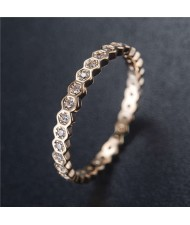 Cubic Zirconia Inlaid Glistening Hexagon Creative Design 18K Plated Rose Gold Ring - Rose Gold