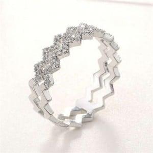 Dual Waves Design Cubic Zirconia Inlaid Platinum Plated Wedding Fashion Ring