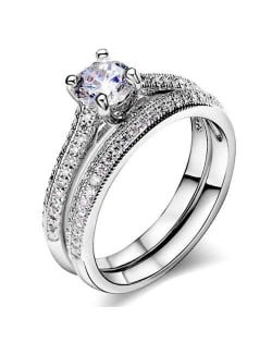 Four Claws Cubic Zirconia Embellished Platinum Plated Women Wedding Ring