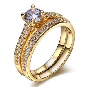 Four Claws Cubic Zirconia Embellished 18K Rose Gold Plated Women Wedding Ring